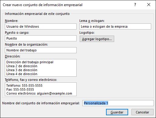 fea237724 Captura de pantalla del cuadro de diálogo Crear nuevo conjunto de  información empresarial.