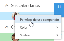 Captura de pantalla del menú contextual de Su calendario con Permisos de uso compartido seleccionados.