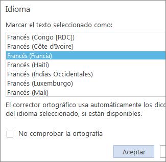 Imagen de la opción Establecer idioma de corrección en Word Online