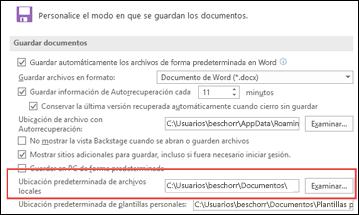 Las opciones de Guardar en Word con la configuración de carpeta de trabajo predeterminada
