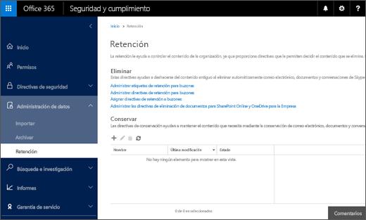 Página de retención en el Centro de seguridad y cumplimiento de Office 365