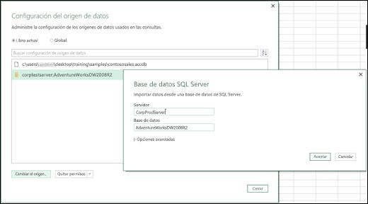 Mejoras de la configuración de origen de datos de Power BI para Excel