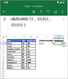 Muestra la función BUSCARX
