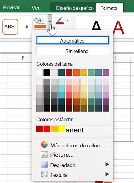 Configuración de relleno de gráfico en automático