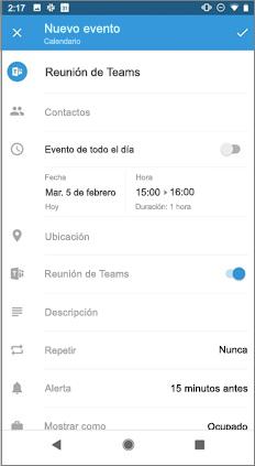 Página de evento nuevo con la opción de alternancia reunión de Teams activada