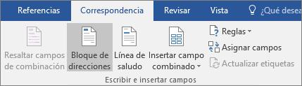Como parte de la combinación de correspondencia de Word, en la pestaña Correspondencia del grupo Escribir e insertar campos, elija Bloque de direcciones.