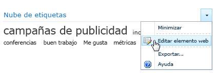 Menú Editar para un elemento web de nube de etiquetas