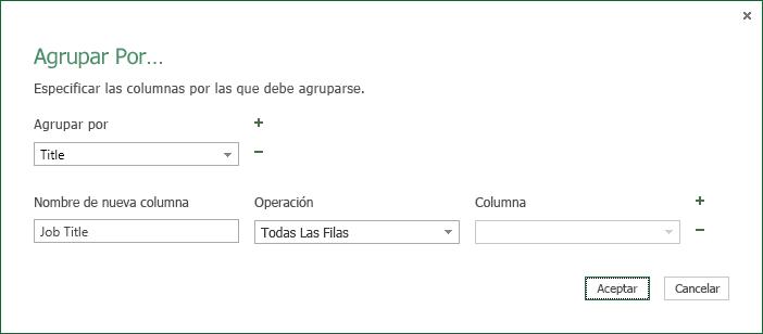 Cuadro de diálogo Agrupar por de operaciones de fila