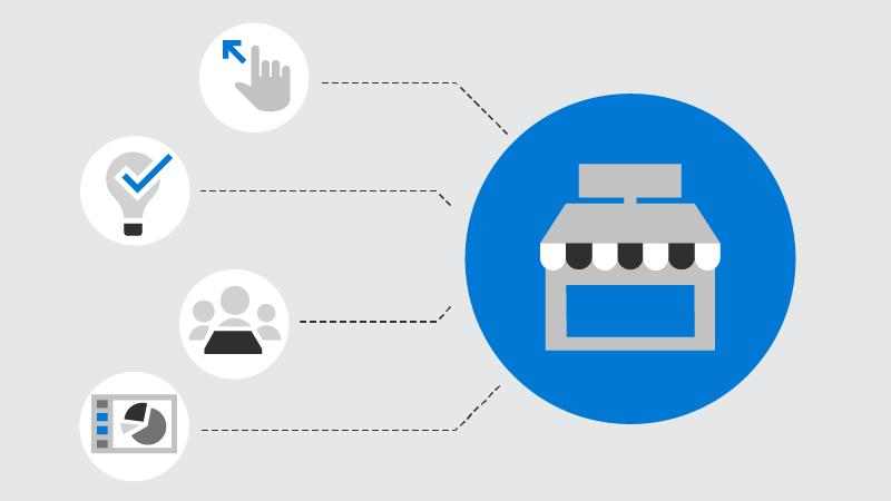 Un símbolo de pequeña empresa conectado a los símbolos introducción, idea, reuniones y presentación