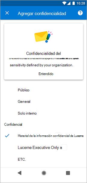 Captura de pantalla de las etiquetas de confidencialidad en Outlook para Android