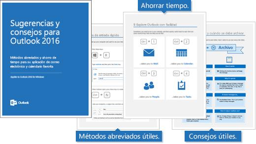 Portada del libro electrónico Sugerencias y consejos para Outlook 2016, páginas donde se muestran algunas sugerencias