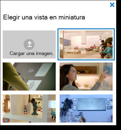 O365 Vídeo elegir una vista en miniatura