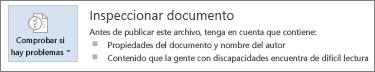 Inspección de un documento de Word 2013