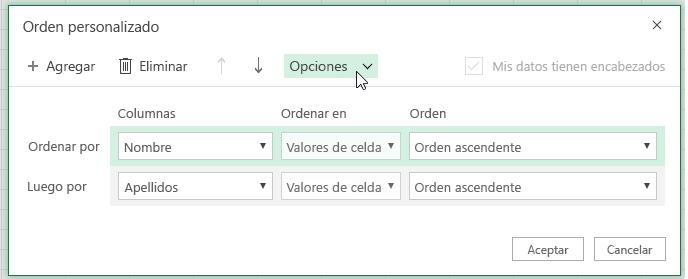 Cuadro de diálogo de orden personalizado con el botón de opción seleccionado