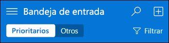 Navegación superior de Outlook Web App