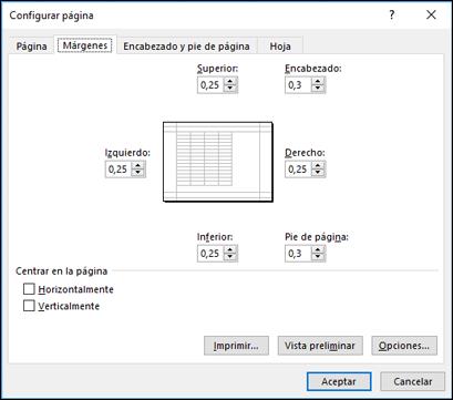 Configurar página > Opciones de márgenes