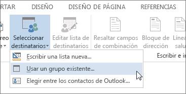 Captura de pantalla de la pestaña Correspondencia de Word, donde se muestra el comando Seleccionar destinatarios con la opción Utilizar una lista existente seleccionada.