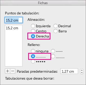 Cuadro de diálogo Tabulación, configurado para una tabulación alineada a la derecha con puntos