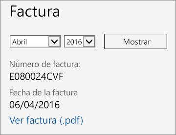 Captura de pantalla de la sección Factura de la página Detalles de la factura en el Centro de administración de Office 365.