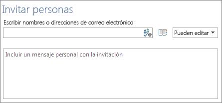 El cuadro para enumerar los correos electrónicos de los otros usuarios