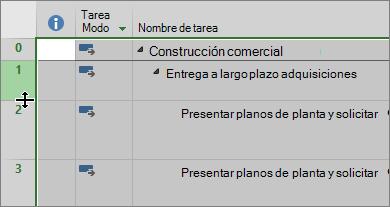 Captura de pantalla de la vista del diagrama de Gantt con desplazamiento del cursor sobre el divisor de fila