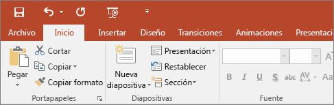 Muestra la cinta de opciones con temas multicolor en PowerPoint 2016