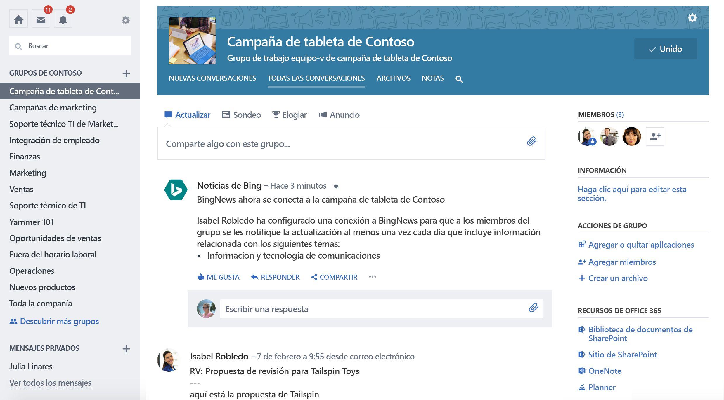 Captura de pantalla de Office 365 conectado grupo Yammer con la nueva conexión