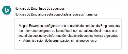 Captura de pantalla de un grupo de Yammer conectado con una nueva conexión de Office 365