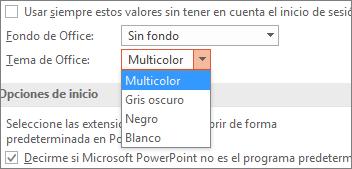 Muestra las opciones de tema de Office en PowerPoint 2016
