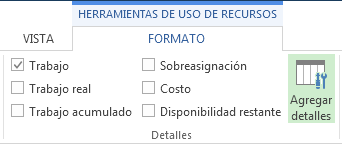 Botón Agregar detalles de la pestaña Formato de herramientas de uso de tareas