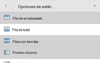 Menú de opciones de estilo de tabla de Word para Android