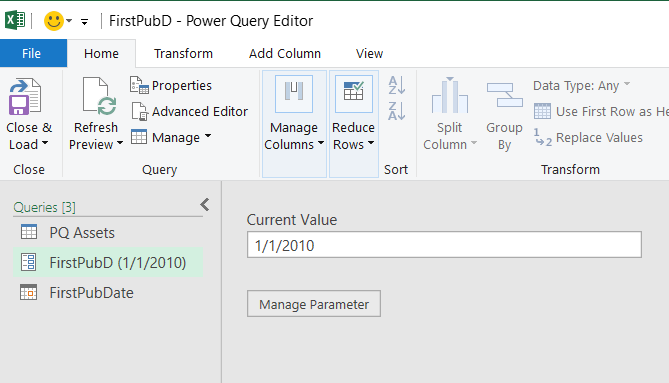 Editor de Power Query que muestra un parámetro