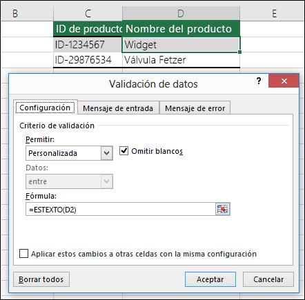 Ejemplo 2: Fórmulas en la validación de datos