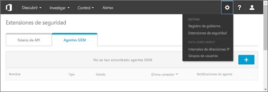 En el portal ASM, elija Configuración > extensiones de seguridad