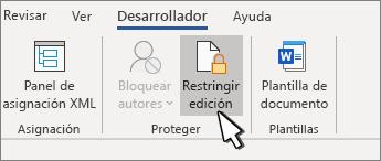 Botón Restringir edición