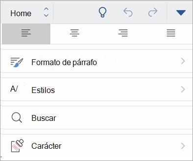 Captura de pantalla del botón de confidencialidad en Office para iOS