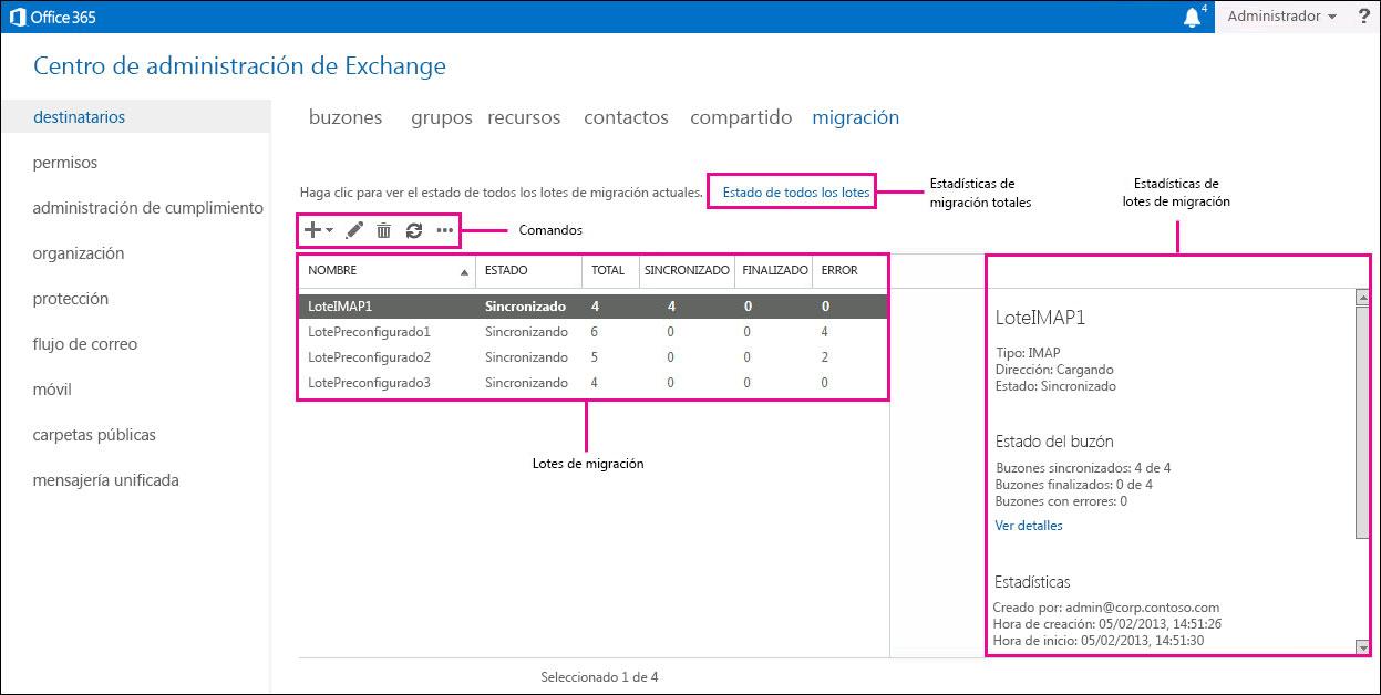 Administrar los lotes de migración en Office 365 - Office 365