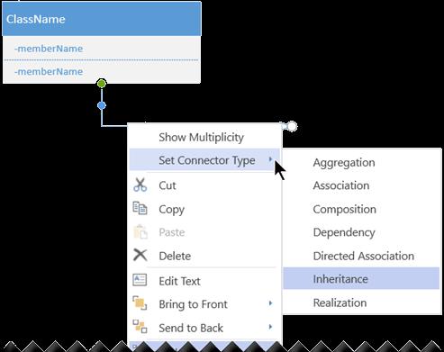 Haga clic con el botón secundario en un conector y seleccione establecer tipo de conector para ver las opciones de los tipos de conector.