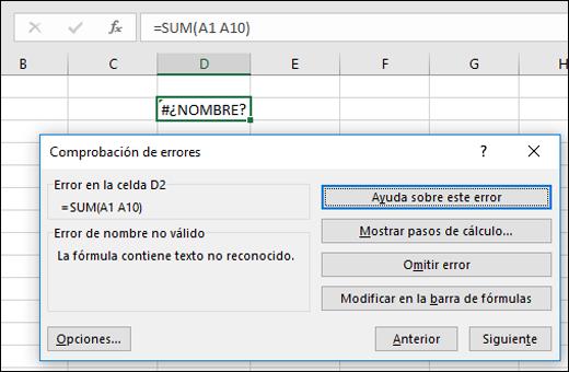 Detectar errores en fórmulas - Soporte de Office