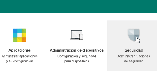 En la consola de administración de Google, elija Seguridad