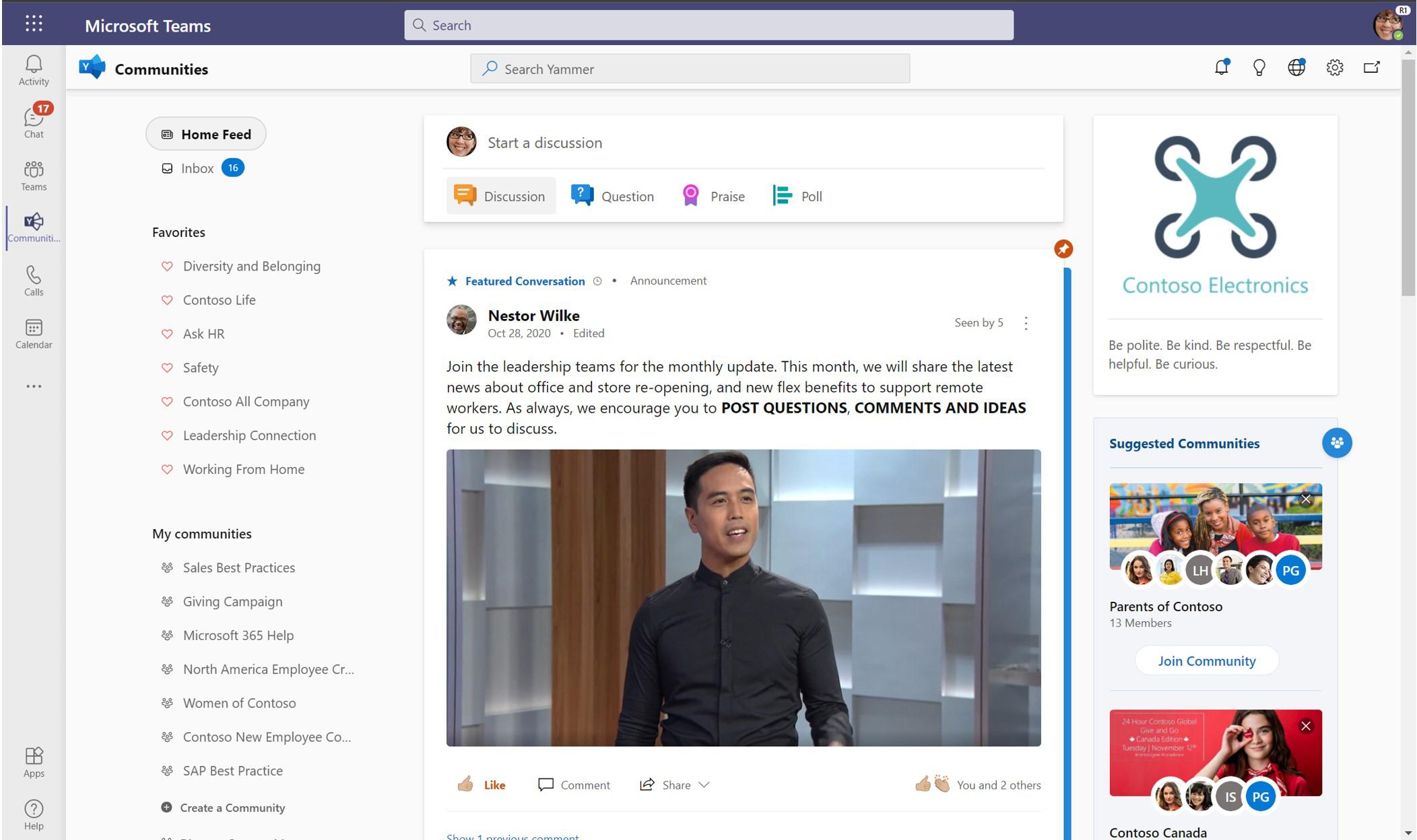 Captura de pantalla que muestra la vista completa de la aplicación Yammer Communities en Teams