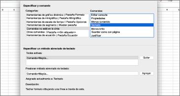 Cuadro de diálogo Personalizar métodos abreviados