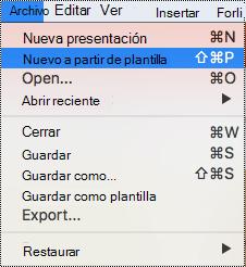 Página plantillas en PowerPoint para Mac