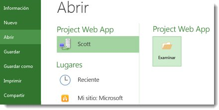 Botón Buscar para abrir un archivo de Project Online