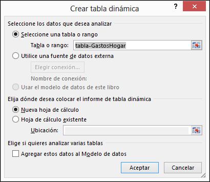 Cuadro de diálogo Crear tabla dinámica de Excel