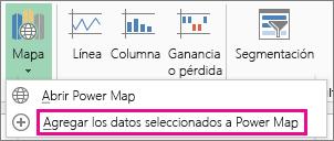 Comando Agregar los datos seleccionados a Power Map