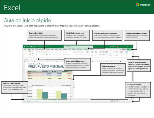 Guía de inicio rápido de Excel 2016 (Windows)
