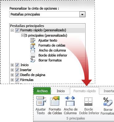 Ficha personalizada en la cinta de opciones