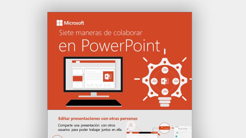 Infografía en la que se muestran siete formas para trabajar en equipo en PowerPoint