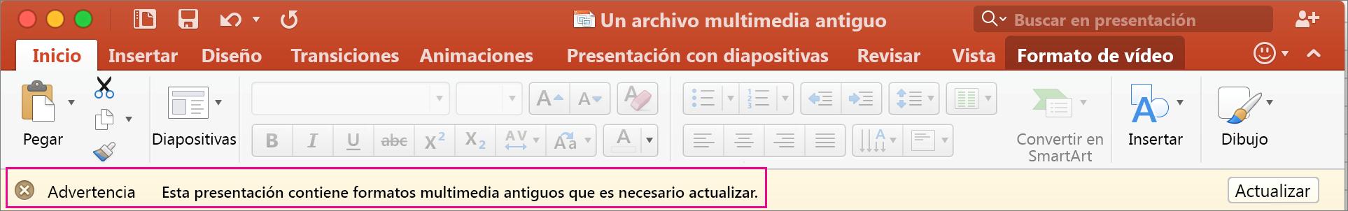 Formato multimedia anterior en PowerPoint 2016 para Mac